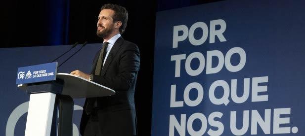 El presidente nacional del Partido Popular, Pablo Casado
