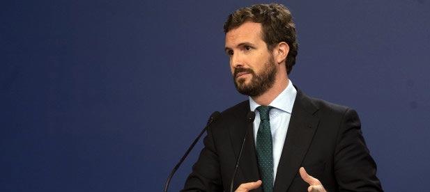 El presidente del Partido Popular, Pablo Casado, en rueda de prensa