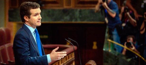 Pablo Casado, durante el debate de investidura en el Congreso de los Diputados