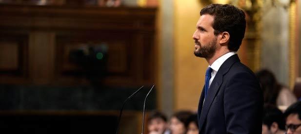 Pablo Casado, durante su intervención en el debate de investidura
