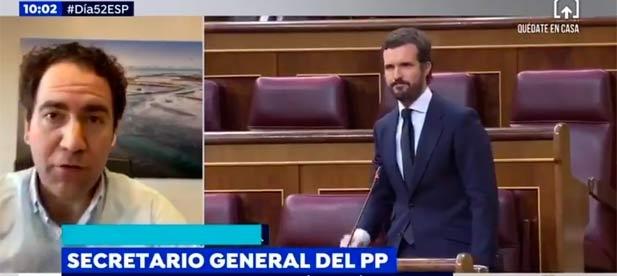 El secretario general, Teodoro García Egea entrevistado en Espejo Público hoy.