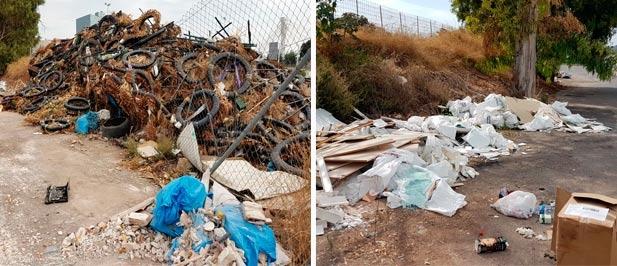 El gobierno municipal de PSOE, Compromís y Podemos no hace nada para acabar con las montañas de residuos acumulados que producen mal olor y favorecen la proliferación de insectos y roedores.