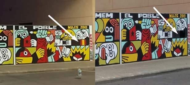 En la imagen de la derecha se puede ver que la bandera de España ha sido eliminada.
