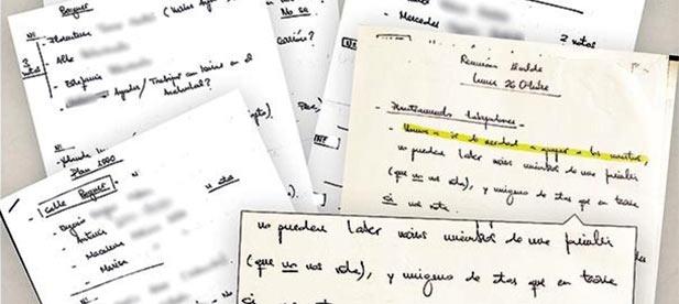 Los manuscritos del «Plan 1.000» para conseguir mil votos con empleos municipales puerta a puerta.