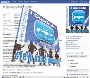 Todo apunto para la primera Quedada Facebook del PP de Castellón