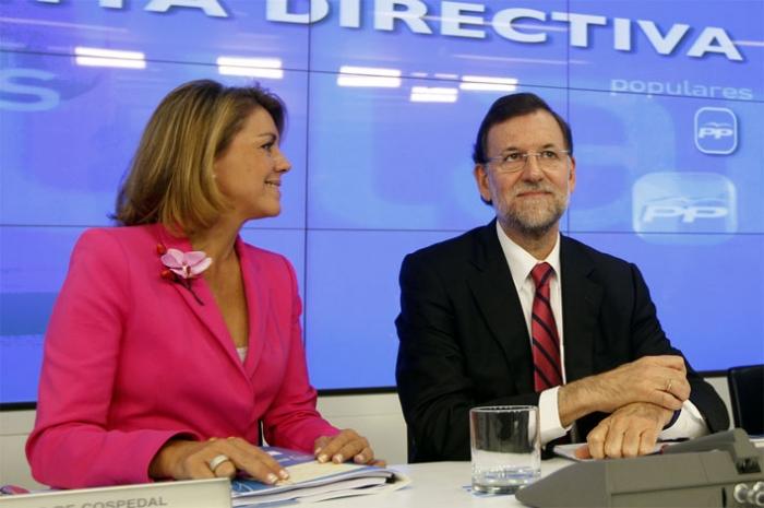 mariano Rajoy con Cospedal en una Junta de la Dirección Nacional