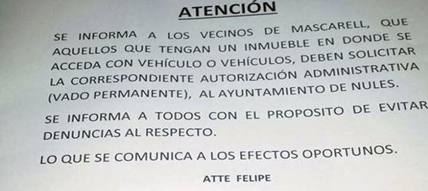 Los vecinos de Mascarell deberán colocar su vado en las puertas de sus cocheras y pagar la correspondiente tasa al Ayuntamiento de Nules.
